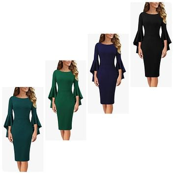 Bell Sleeve Cocktail Dress, Sizes XSmall - 3XLarge