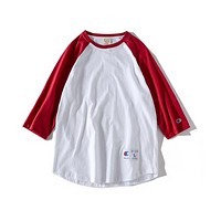 Champion  T-shirt six color the pure cotton sweat cloth  washing fixed phase Red