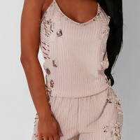 Laine Nude Embellished Beaded Playsuit   Pink Boutique