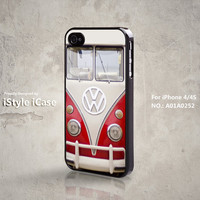 iPhone 4 Case, iPhone 4s Case-  VW, Volkswagen, Mini Bus, Red iPhone Case, Plastic Hard Case, Soft Rubber Case, Case For iPhone - A01A0252