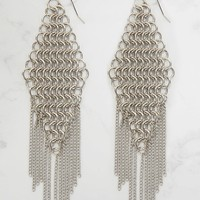 Silver Chainmail Drop Earrings