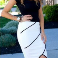 Slim Bodycon Asymmetrical Hem Skirt