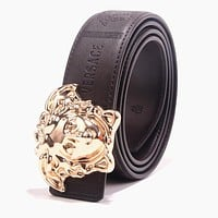 VERSACE Newest Fashion Women Men Smooth Buckle Leather Belt Coffee