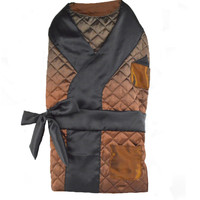 Copper Quilted Dog Cat Smoking Jacket with Black Satin Lapels