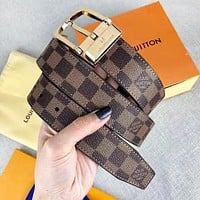 LV Louis Vuitton Fashion New Plaid Leather Women Men Leisure Belt 3.4 CM With Box