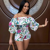 LV Louis Vuitton Fashion Casual Flower Printed and Dyeing One-shoulder Jumpsuit
