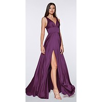 Cinderella Divine 7469 Sexy Long Prom Dress Eggplant Evening Satin Gown