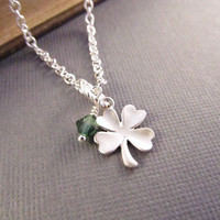 Four Leaf Clover Necklace, Silver Shamrock with Green, St Patricks Day Necklace, Lucky Charm, Good Luck Jewelry, Saint Patricks Day Jewelry