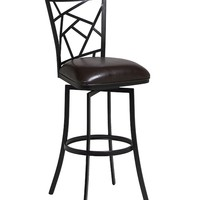 """Homestead 26"""" swivel barstool finished in Phantom metal and upholstered in Melvin Chocolate"""