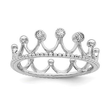 Sterling Silver CZ Eternity Crown Ring