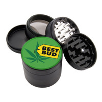 "Best Green Bud Design - 2.25"" Premium Black Herb Grinder - Custom Designed"