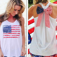 womens american flag sleeveless t-shirts bow tank top unique vest gift 98