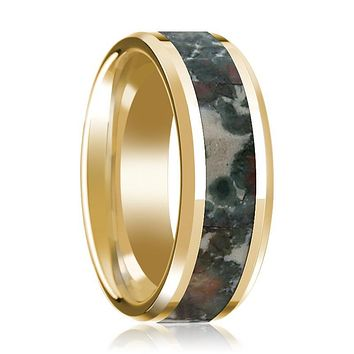 Coprolite Fossil Inlaid 14k Yellow Gold Polished Wedding Band for Men with Beveled Edges - 8MM