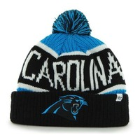 "Carolina Panthers Black Cuff ""Calgary"" Beanie Hat with Pom - NFL Cuffed Winter Knit Toque Cap"