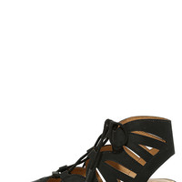 Coast with the Most Black Lace-Up Sandals