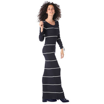Navy blue stripe maxi dress in ribbed jersey