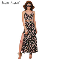 Simplee Apparel 2016 new style summer dress Girl boho hollow out vintage floral print long dress Women sexy party maxi vestidos