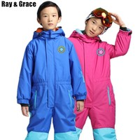 RAY GRACE Kids' Snowboard Snowmobile One-Piece Ski Suit Snowsuit Boys Girls Thermal Waterproof Windproof Snow Jacket Children