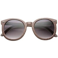 Women's Oversize Retro Round Wood Print Sunglasses 9642