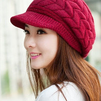 Womens Warm Winter Braided Knit Brim Visor Beanie Cap Ski Hat Beret Wine Red = 1958323780