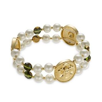 Charter Club Gold-Tone Imitation Pearl and Green Bead Two-Row Stretch Bracelet