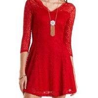 All-Over Lace Skater Dress by Charlotte Russe - Red