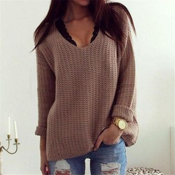 DCCK7XP Women's V-Neck Long Sleeve Loose Pullover Sweater Retro Style Winter Clothings Knitted Sweater