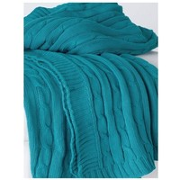 Favorite Cable Knit Sweater Turquoise Throw
