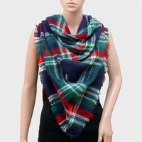 Plaid Check Knit Fringed Trim Blanket Scarf - Green & Red