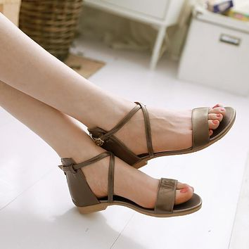 Genuine Leather Cross Straps Flat Sandals Bohemia Beach Shoes 4187