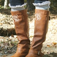 Paint The Town Red Chestnut Riding Boot with MONOGRAM