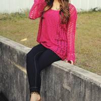 Don't Say A Word Sweater: Hot Pink