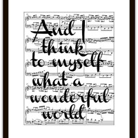 What a Wonderful World Song Lyrics Typography Music Art Print, Home & Living, Home Decor, Gift Ideas, Typographic, Inspiration, Motivation