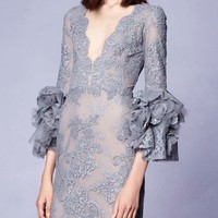 Gray Plunge Puff Sleeve Lace Mini Dress