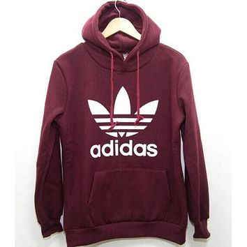 Adidas Fashion Trending Print Hooded Pullover Tops Sweater Sweatshirts Wine red G