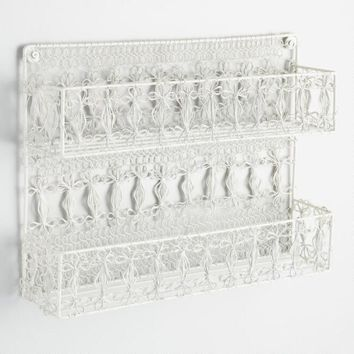 White Wire Macrame 2 Tier Spice Rack