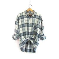 Vintage Plaid Flannel / Grunge Shirt / cotton button up shirt / XL