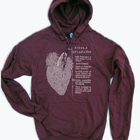 Unisex - Anatomical HEART - Flex Fleece PULLOVER Classic Hoody Sweatshirt - (3 Color Options) - American apparel sizes xs s m l xl