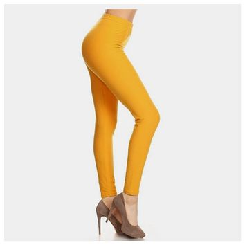 No Peek-a-Boo See Through, Buttery Soft Mustard Leggings