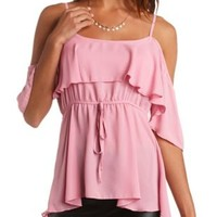Sheer Cold Shoulder Babydoll Top by Charlotte Russe - Dusty Rose