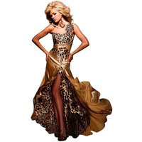 Tony Bowls One Shoulder Dress 111701, Gold, 6