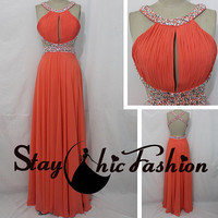 Coral Long Pleated Keyhole Bust Beaded Waist Open Back Chiffon Prom Bridesmaid Dress with Straps