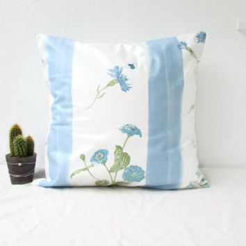 Blue floral pillow cover, 16 inch cushion cover, country cottage cushion, British fabric, floral throw pillow, handmade in the UK