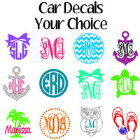 Monogram Car Decals, Window Sticker