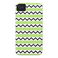 Black chevron zigzags and lime green stripes iPhone 4 cover from Zazzle.com