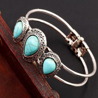 Vintage Tear Shape Turquoise Bangle Native Silver Bracelet