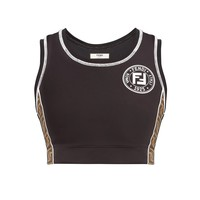 Black FF Monogram Strap Sports Bra by Fendi