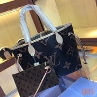 HCXX 19Aug 054 M41177 Louis Vuitton LV Neverfull Frame Fashion Damier Azur Canvas Tote Bag 32-29-17cm