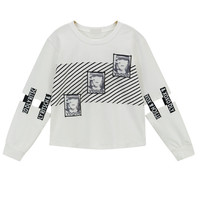 Vogue Print Long Sleeve T-Shirt in White or Black