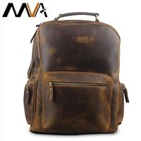 Crazy Horse Leather Backpack Men Backpacks Casual Daypacks Leather Laptop Bag Men's Travel Shoulder Bags Male Bag